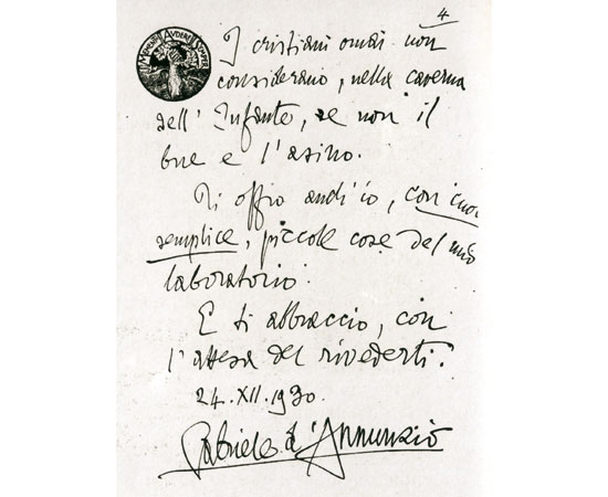An inscription signed by the poet Gabriele d'Annunzio